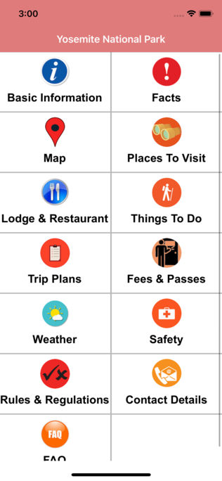Yosemite National Park App for iPhone,iPad